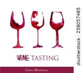 watercolor  wineglasses.... | Shutterstock .eps vector #258057485