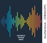 colorful sound wave background. ... | Shutterstock .eps vector #258061091