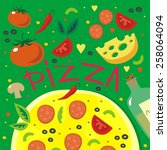 italy delicious pizza print...   Shutterstock .eps vector #258064094