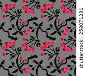 watercolor garden rowan plant... | Shutterstock . vector #258071231
