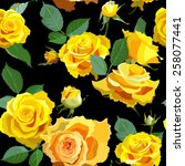 seamless with yellow roses and...   Shutterstock .eps vector #258077441