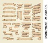 vector ribbons set in doodle...   Shutterstock .eps vector #258086771