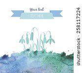 abstract spring blue watercolor ... | Shutterstock .eps vector #258117224