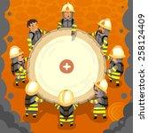 set of cartoon fireman doing... | Shutterstock .eps vector #258124409