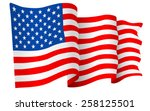 usa american flag waving  ... | Shutterstock .eps vector #258125501