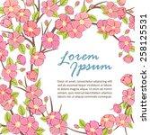 sakura tree branch frame... | Shutterstock .eps vector #258125531