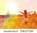 free happy woman enjoying... | Shutterstock . vector #258137189