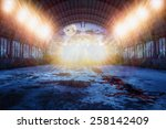 dance place for zombie  with lots of lights and blood on the floor in abandoned hangar in the green forest at night with fool moon - stock photo