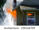 licks of flame burst out of the ... | Shutterstock . vector #258166709