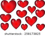 vector drawing heart shapes | Shutterstock .eps vector #258173825