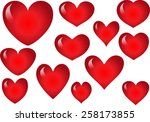 vector drawing heart shapes | Shutterstock .eps vector #258173855