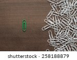 bright green paper clip unique... | Shutterstock . vector #258188879