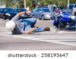 motorcycle rider has wrecked... | Shutterstock . vector #258195647