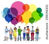 casual people message talking... | Shutterstock . vector #258196331