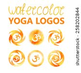 yoga logo oum. watercolor stain ... | Shutterstock .eps vector #258202844