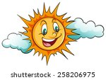 smiling sun in the sky on a... | Shutterstock .eps vector #258206975