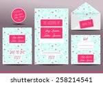 wedding invitation cards set... | Shutterstock .eps vector #258214541