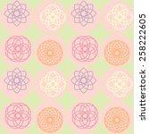 spirograph on dot pattern ... | Shutterstock .eps vector #258222605