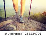 Young Woman Hiker Legs Climbin...