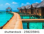 over water bungalows with steps ... | Shutterstock . vector #258235841