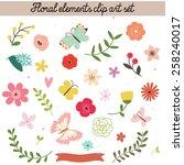 floral elements clip art set   Shutterstock .eps vector #258240017