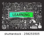 hand drawn learning on... | Shutterstock .eps vector #258253505