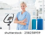 smiling therapist with arms... | Shutterstock . vector #258258959