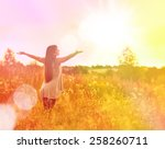 free happy woman enjoying... | Shutterstock . vector #258260711