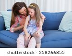 mother and daughter on the... | Shutterstock . vector #258266855