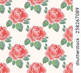 watercolor roses background.... | Shutterstock . vector #258267089
