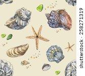 Shells. Watercolor. Pattern...