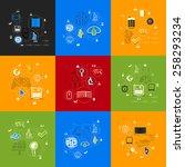 technology sticker infographic   Shutterstock .eps vector #258293234