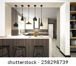 kitchen with lamps 3d rendering | Shutterstock . vector #258298739