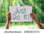 Just Do It card with nature background