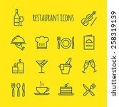 restaurant line icons set   Shutterstock .eps vector #258319139