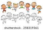 happy kids laughing and jumping ... | Shutterstock .eps vector #258319361