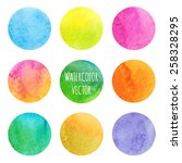 watercolor stains. set of hand...   Shutterstock .eps vector #258328295
