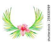 palm wreath watercolor.palm... | Shutterstock . vector #258330989