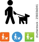 Stock vector person walking a dog on a leash icon 258336041