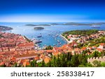 harbor of old adriatic island... | Shutterstock . vector #258338417