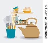 kitchen design over white...   Shutterstock .eps vector #258344171