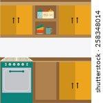 kitchen design over white... | Shutterstock .eps vector #258348014
