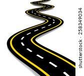 cartoon style road vector... | Shutterstock .eps vector #258349034