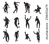 zombie silhouettes set | Shutterstock .eps vector #258352679