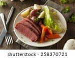 homemade corned beef and... | Shutterstock . vector #258370721