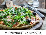 closeup of homemade pizza with... | Shutterstock . vector #258397235