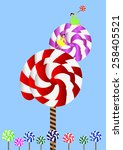 lollipop tree little girl with... | Shutterstock .eps vector #258405521