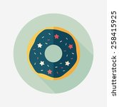 donut flat icon with long...   Shutterstock .eps vector #258415925