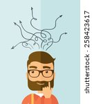 the man with a beard thinking... | Shutterstock .eps vector #258423617