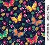 pattern with butterflies   Shutterstock .eps vector #258427589
